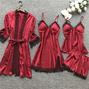 Image 3 - Plus rozmiar 2XL 2019 kobiety piżamy ustawia Satin Silk 4 sztuk bielizna nocna Spaghetti pasek koronki snu salon Pijama