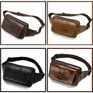 Image 2 - Поясная Сумка MVA мужская кожаная, забавная сумочка на пояс для денег, телефона, дорожный клатч на ремне на плечо, 8966