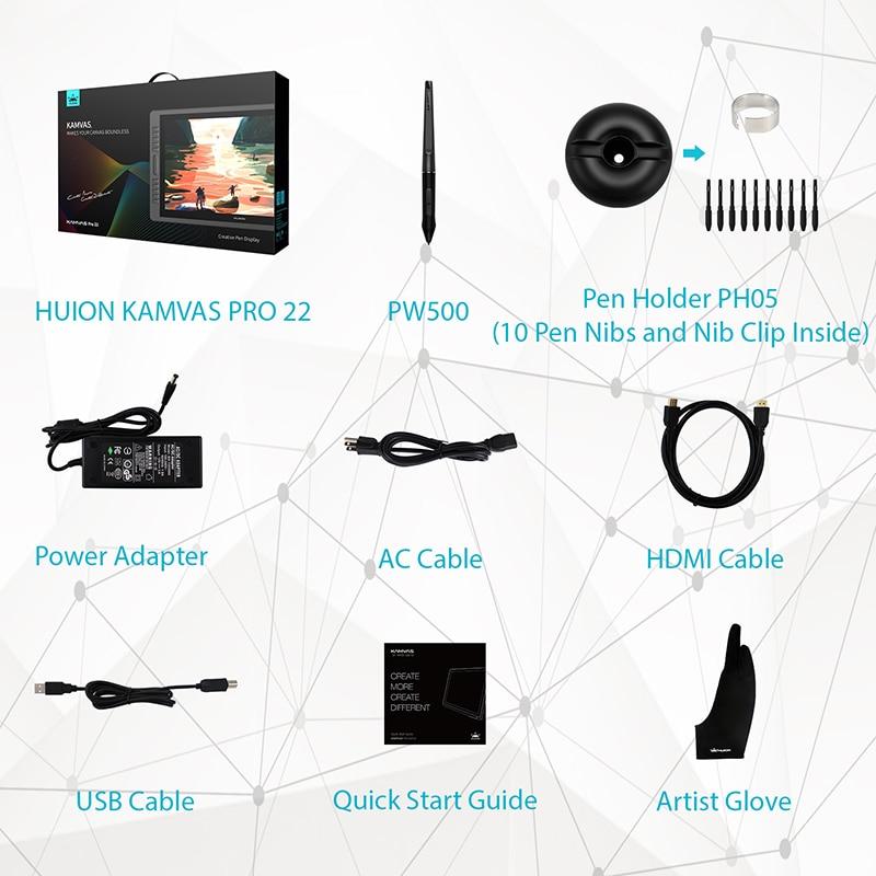 HUION KAMVAS Pro 22 8192 Levels AG Glass Battery Free Pen