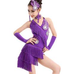 Девушки Дети Взрослые Современный бальный зал латинских танцев платье для танцев с кисточками бахрома для сальсы танго