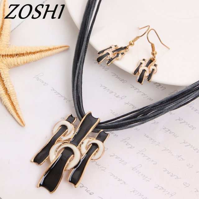 ZOSHI Women Jewelry Set Gold Fashion Necklace Earring Black Multilayer Rope Chain Costume Woman Wedding Accessories