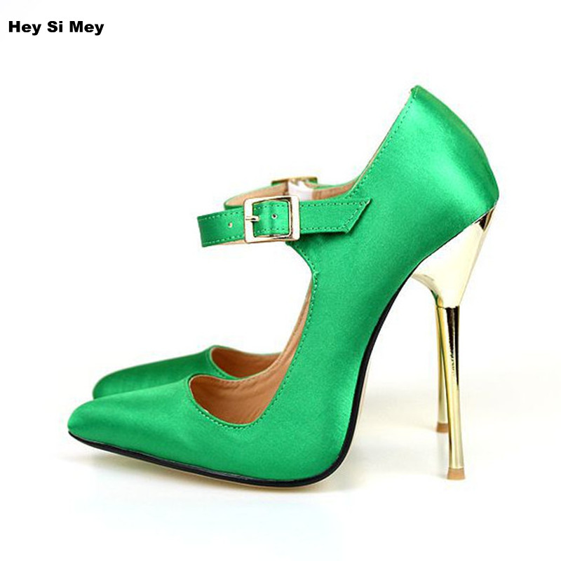 Candy Color Plus Size 49 Wedding Shoes High Heel Women Pumps Sexy Pointed Toe Silk Ladies Shoes Dress Fashion Mary Janes plus big size 34 52 shoes woman 2017 new arrival wedding ladies high heel fashion sweet dress pointed toe women pumps e 177
