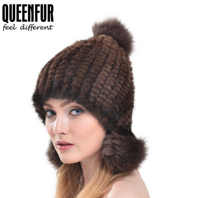 QUEENFUR Real Mink Fur Hat For Women Winter Knitted Mink Fur Beanies Cap With Fox Fur Pom Poms 2016 Brand New Thick Girls Hats