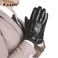 GOURS ของแท้หนังฤดูหนาวถุงมือสีดำหนังแท้หน้าจอสัมผัสขับรถถุงมือถัก Cuff 2019 ใหม่ GSM057