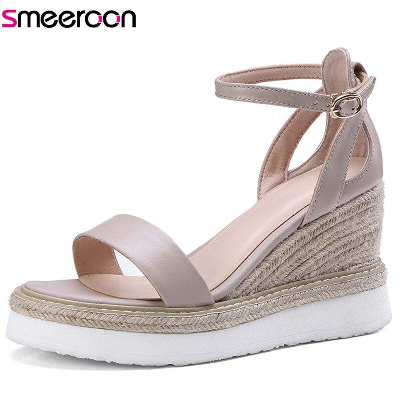Smeeroon 2018 offre spéciale femmes sandales simple boucle solide chaussures d'été en cuir véritable fête mariage chaussures compensées chaussures à talons hauts