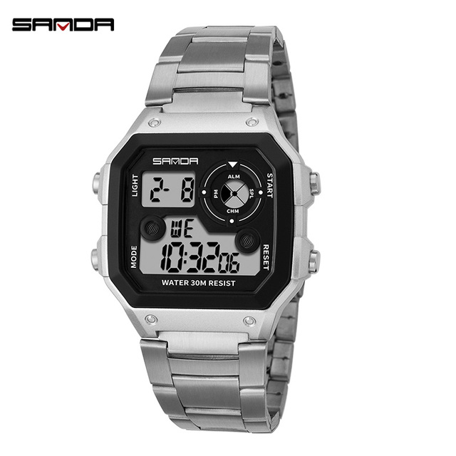 f83da7dece0 SANDA Mens Sports Watches G shock Famous Electronic LED Digital watch Men  Steel Band Waterproof Wrist watch Relogio Masculino