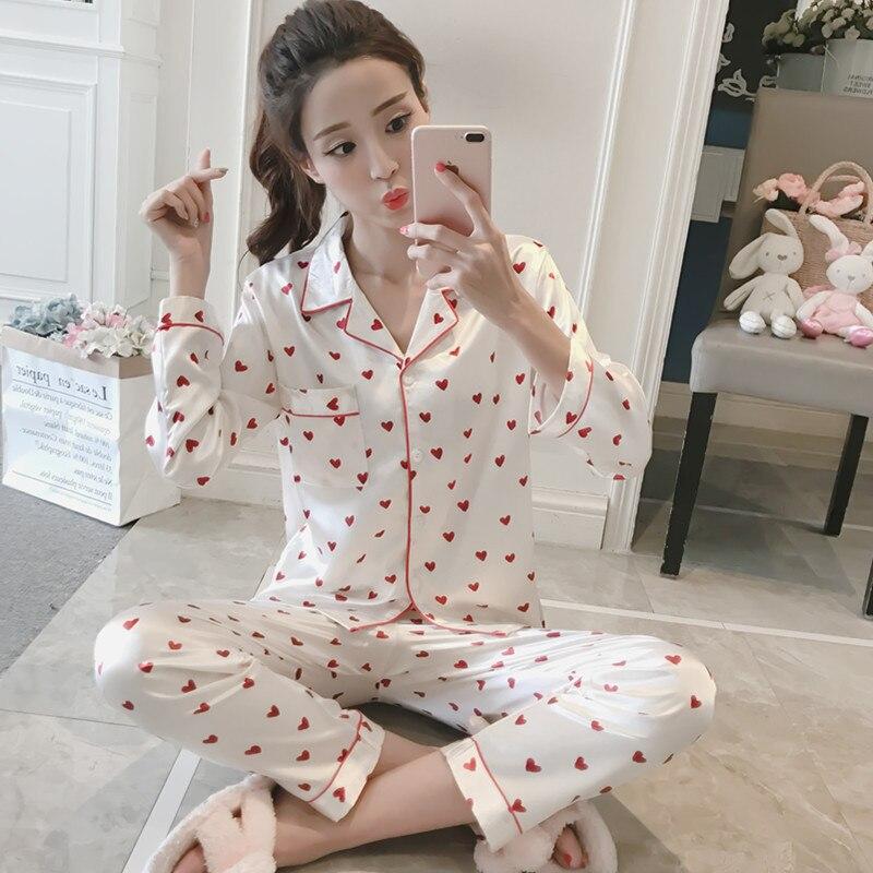 women pyjamas sets Satin Pajama Set Female cute cactus printed pajamas Set Sleepwear spring Autumn HomeWear nightwear For Women in Pajama Sets from Underwear Sleepwears