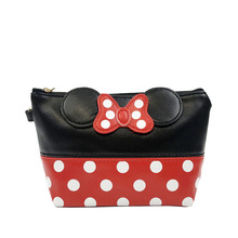Travel Cosmetic Bag Cartoon Bow Makeup Case Women Zipper Hand Holding Make Up Handbag Organizer Storage Pouch Toiletry Wash Bags leaves hanging cosmetic toiletry bags travel organizer beautician necessary functional makeup wash pouch accessories supplies