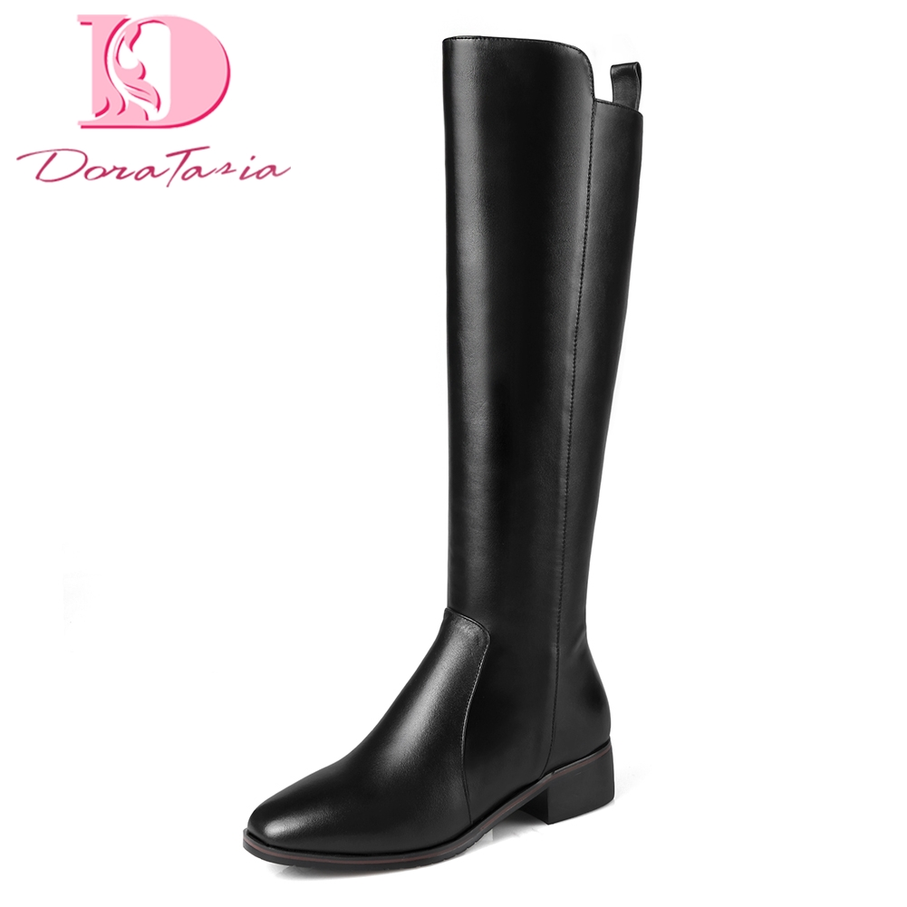 Doratasia Brand plus Size 33 42 Genuine Leather Cow Leather Boots Woman Shoes Zip Up women's Knee High Boots Shoes Woman