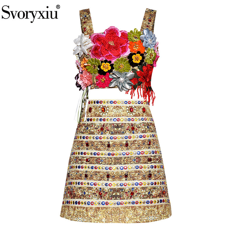 Svoryxiu 2019 Summer Runway Sexy Corset Skirt Suit Women s High Quality Diamond Embroidery Applique Female