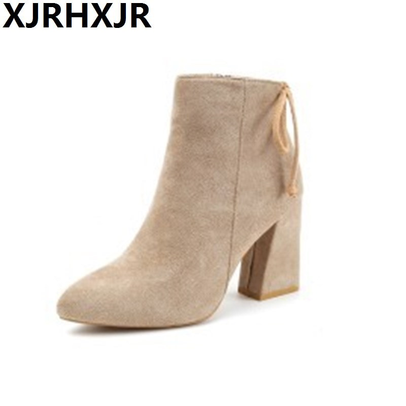 Woman Ankle Boots Suede Leather Winter High Heel Boots Shoes Women Pointed Toe Thick Heel Beige Black Boots Back Lace Up pearl high heels shoes thick green women strange suede abnormal catwalk genuine leather pointed toe strap mary jane lace up