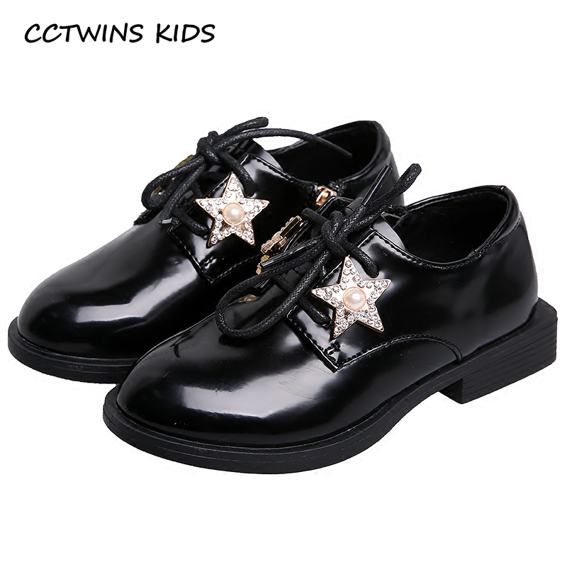 CCTWINS KIDS 2018 Spring Child Kid Fashion Pu Leather Lace-up Star Shoe Baby Girl Patent leather Toddler Strap Pink Shoe G1634 pu leather panel lace up flare coat