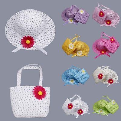 Summer Flower Lovely Kids Girl Children Straw Sun Hat Cap+Straw Tote Handbag Set