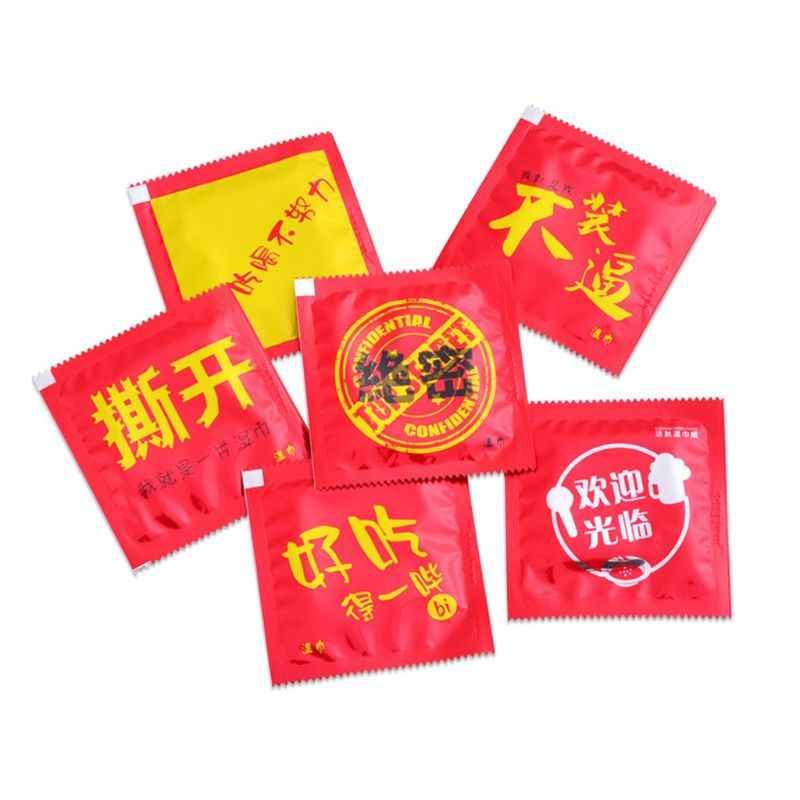 1 Tas Lucu Cina Kata-kata Dicetak Kreatif Rumit Lelucon Kondom Bentuk Tisu Basah Handuk Minum Individual Dibungkus Dewasa Hadiah