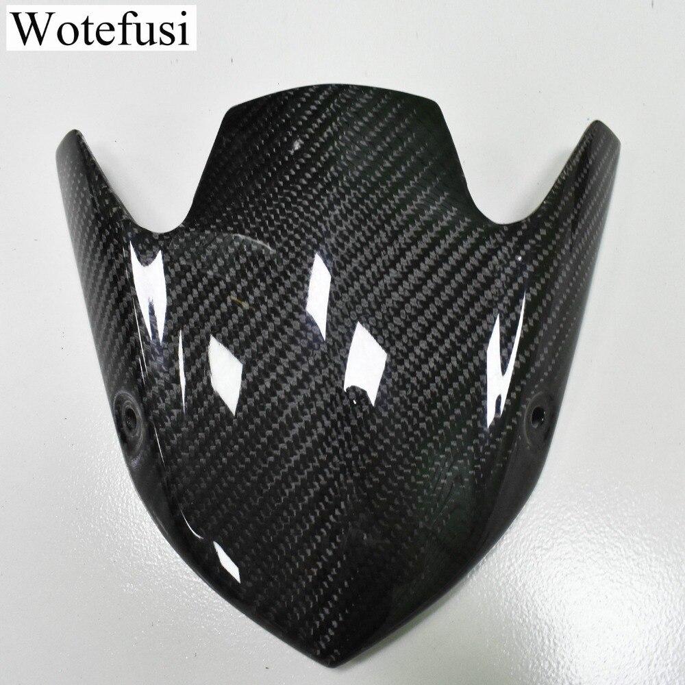 Wotefusi Carbon Fiber Motorcycle Windshield Screen Panel Cowl Fairing for Kawasaki Z1000 2015 2016 Black [PA516]