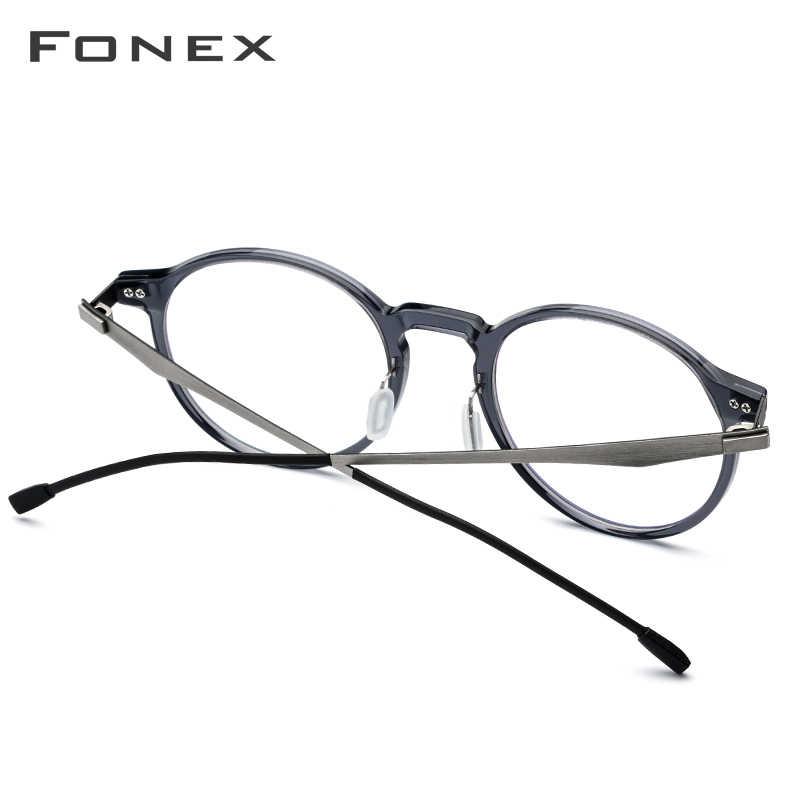 Armação de óculos ótico de acetato fonex, armação retrô redonda para óculos de grau para miopia, círculo sem parafusos, unissex
