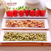 Japan Style Creative Decorative porcelain tableware white ceramic plate*3 bamboo tray*1 dishes plates set snack fruit plate dish