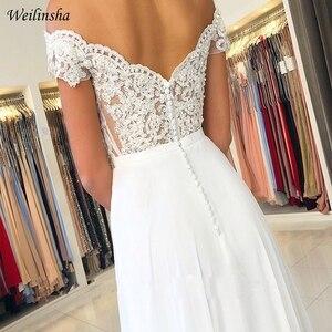 Image 3 - Weilinsha New Cheap Wedding Dress Off the shoulder Lace Wedding Dresses Vestido de Noiva Zipper back with Buttons