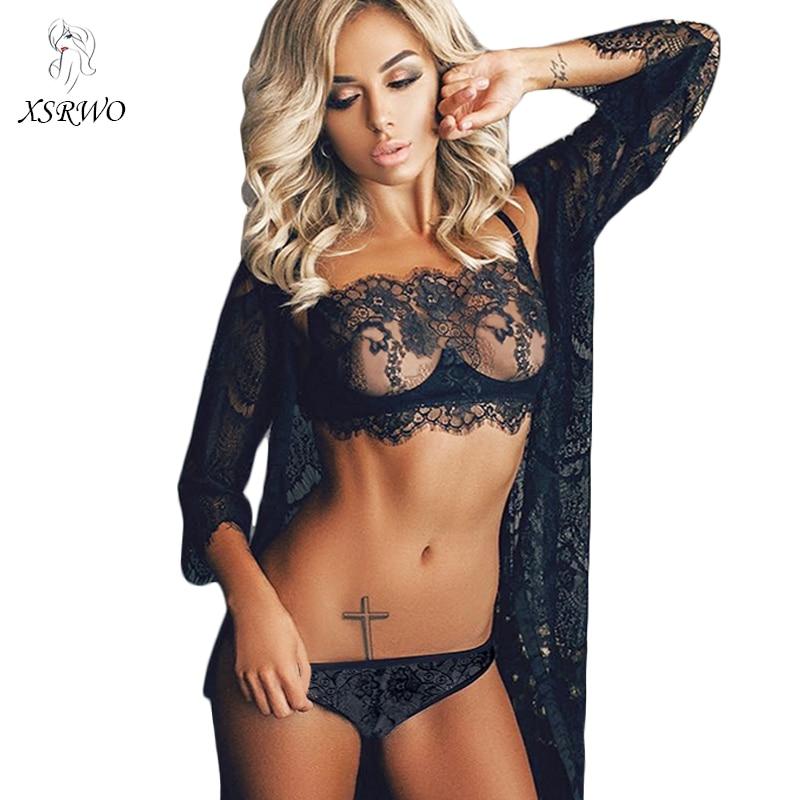 XSRWO New Sexy Bra Sets Plus Size Push Black Lace Bralette Brief Sets Unlined Seamless Strap Sexy Lingerie Women's Underwear