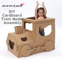 MOMEMO поезд собрана DIY головоломки локомотив Модель Сборка модели строительных Наборы картона поезд собрать пазл модель устанавливает