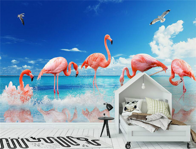 Home Improvement 3D Wallpaper For Walls 3d Decorative Vinyl Wall Paper Modern Minimalist Flamingo Background Wall Wallpapers