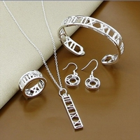 Fashion Women Jewelry 2014 Sliver Plated Necklace Bangle Earrings Ring 100 New Production Popular Jewelry Sets