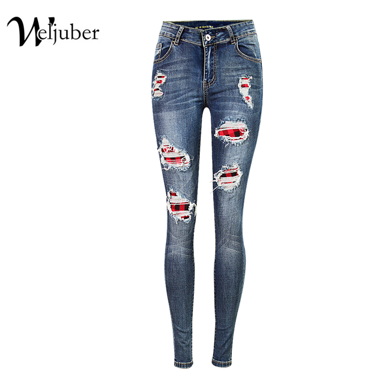 2017 Weljuber Hole Patchwork Jeans Denim Ripped Blue Pencil Pants Mid Waist Skinny Jeans Women High Elastic Wash Sexy Jeggings 2017 jeans women dark blue mid waist elastic cotton skinny jeans feminino soft pencil pants zipper fly full length denim jeans