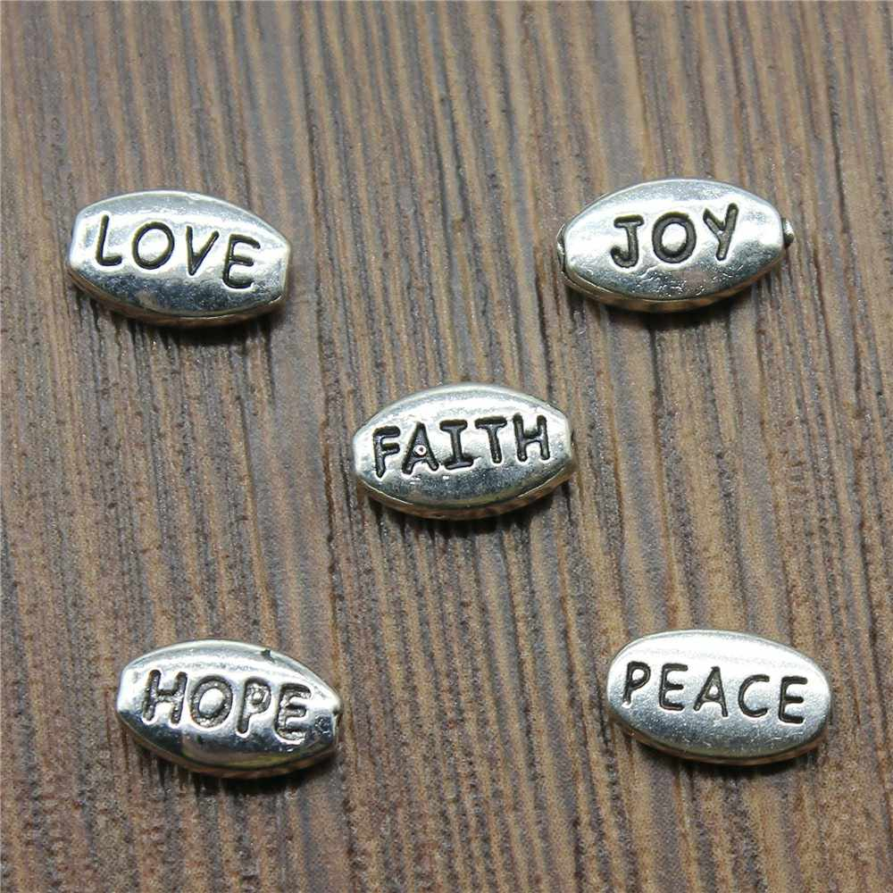 Small Hole Beads Charms Antique Silver LOVE FAITH JOY PEACE HOPE Small Hole Beads Charm Jewelry Making