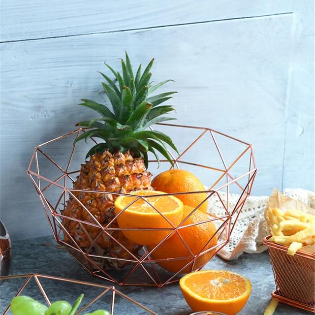 Escandinavos Rose Gold Metal Fruit Basket Armazenamento Ins Vogue Ouro Ferro Forjado Cesta De Armazenamento de Desktop Moderno Home Organizer