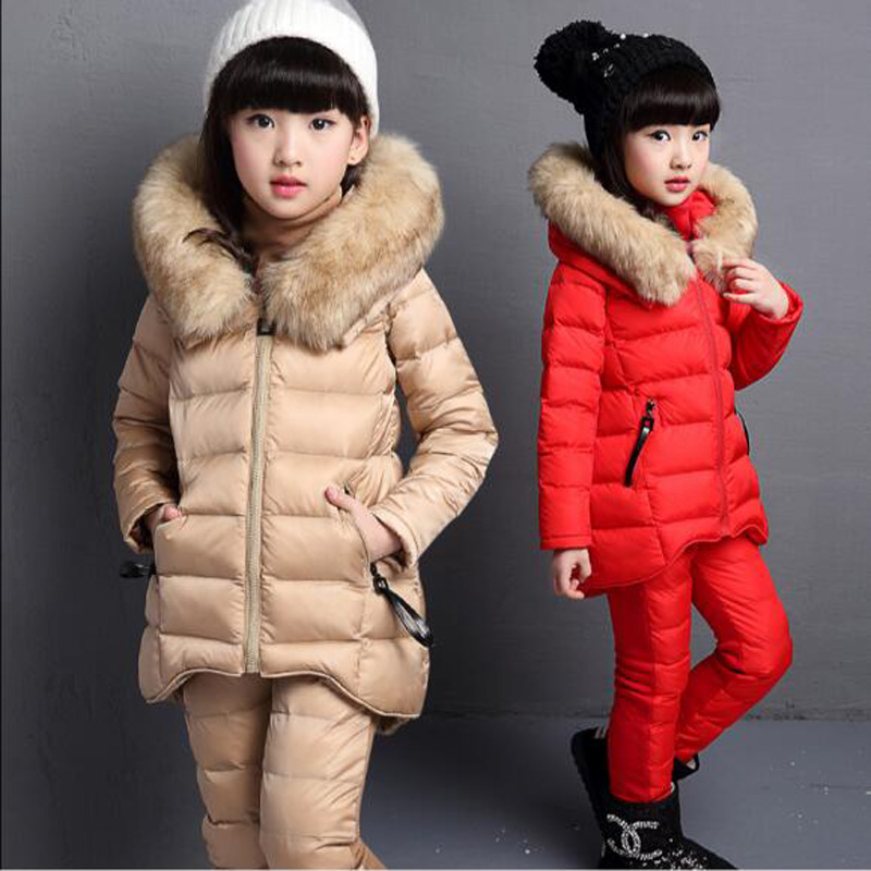 JENYA 2017 winter children clothing down&parkas girl baby cotton fashion thicken wadded jacket kids T-shirt+pants +vest 3pcs set
