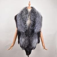 New 100% Natural Fur shawl Luxury Silver Fox Fur Collar Ring shawl Women Genuine Fox Fur Collar for Down Jacket Wholesale