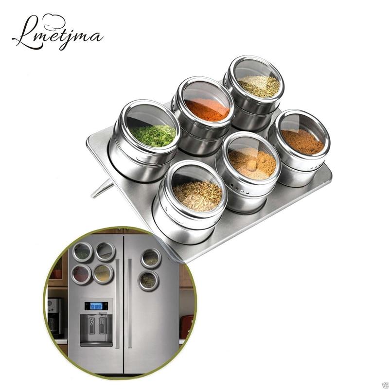 LMETJMA 6pcs/set Spice Jar Set Magnetic Stainless Steel Jars With Rack Pepper Shakers Seasoning Sprays KC0010