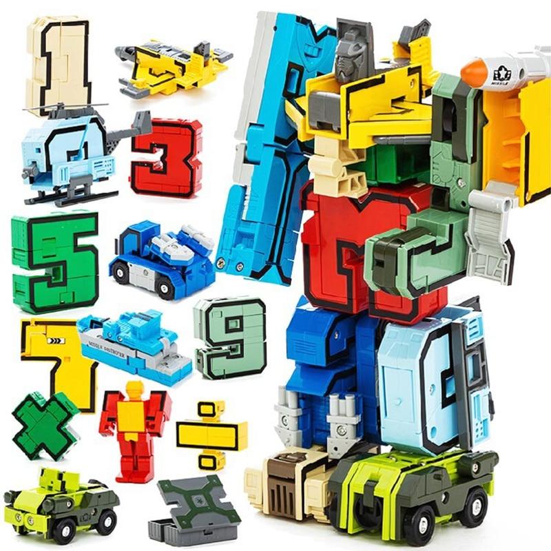 Creative Assembling Educational Block Bricks Articles Preschool Transform Number Robots Figures Transformer Plane Car Model Toys 6 in 1 solar toy diy robots plane educational kid gift creative
