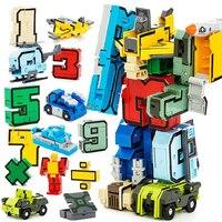 Twórczy Blok Cegieł Edukacyjne Montażu Artykułów W Wieku Przedszkolnym Przekształcić Numer Roboty Figurki Transformator Samolot Model Samochodu Zabawki