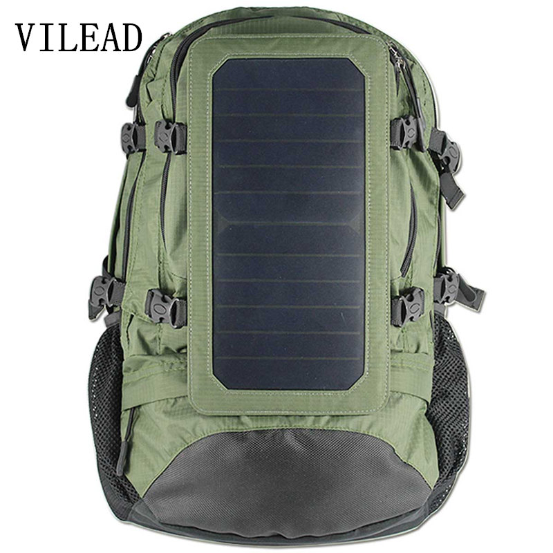 VILEAD 55*36*23cm Solar Energy 6.5W Backpack Large Capacity Energy-Saving Environmental Protection Solar Power Charger Backpack
