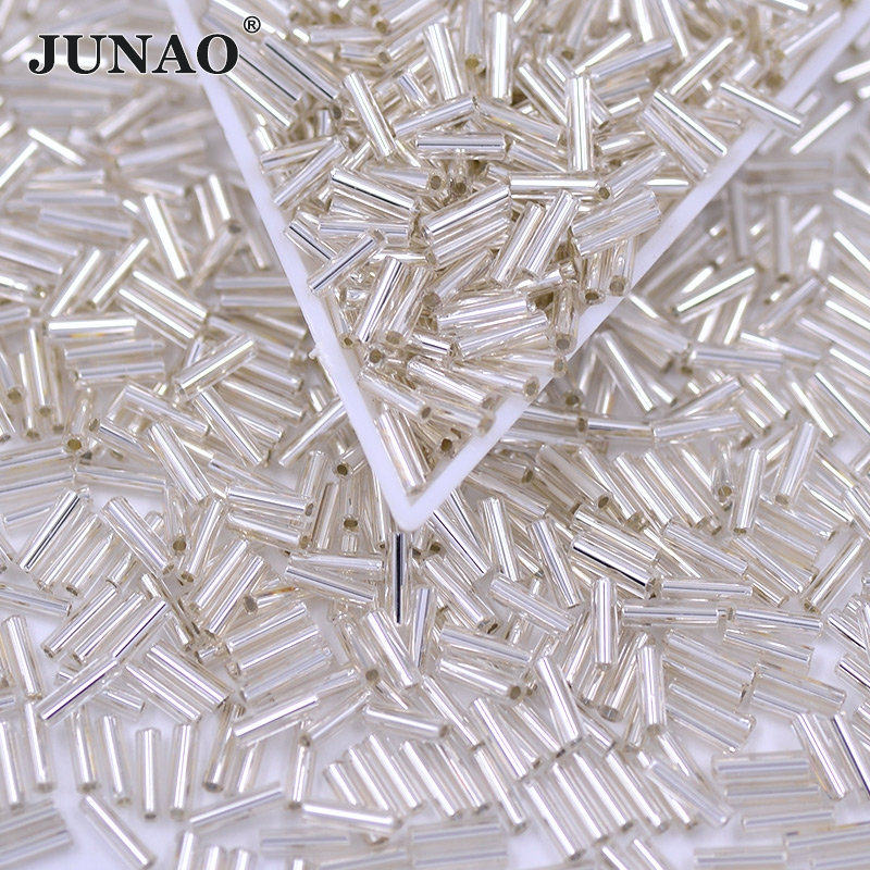 Best buy JUNAO 2 4.5 6mm White Clear Sewing Crystal Rhinestones Applique  Sew On Glass Tube Bead Round Stone and Crystals for Dress Crafts online  cheap 2d810c2bdb58