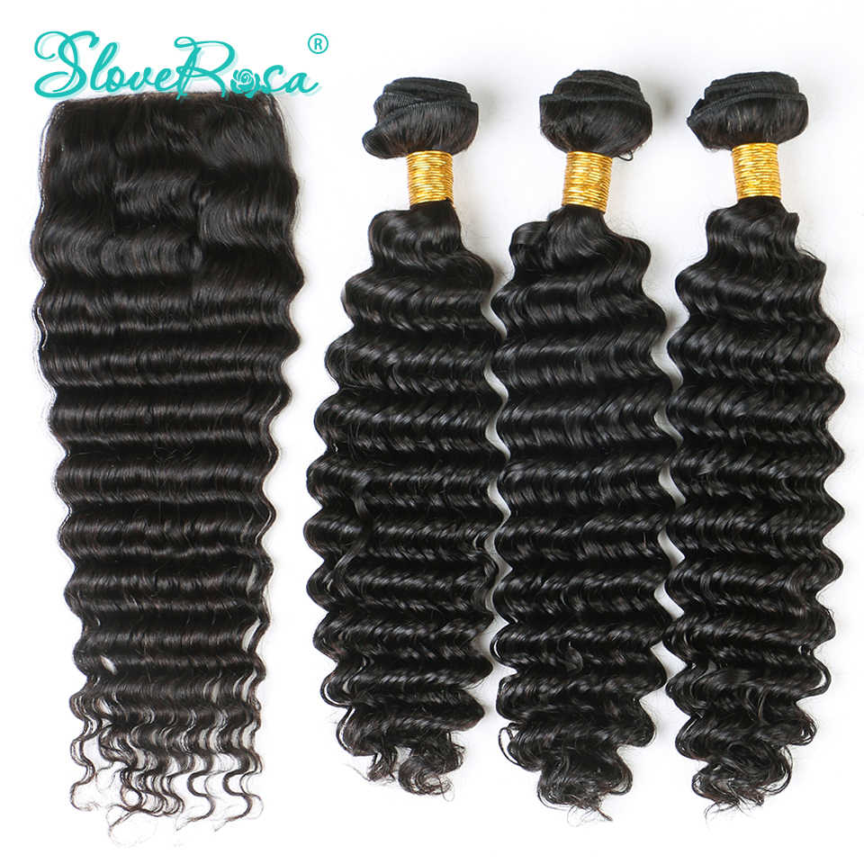 Deep Wave Human Hair Bundles With Free Part Closure 3/4+1 Brazilian Bundles Remy Hair Lace Closure 4*4 Pre Bleacked Slove Rosa