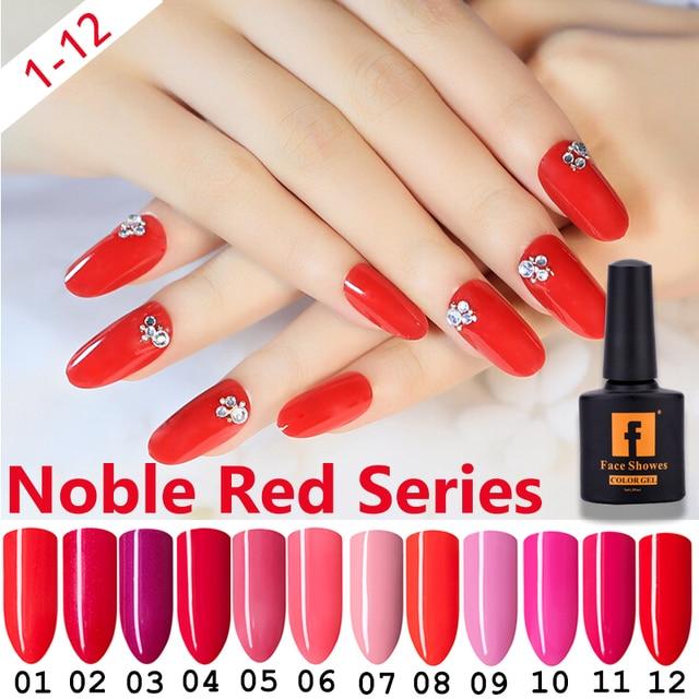 FACESHOWES Moda Noble Rojo Serie Polaco Del Gel de Larga Duración ...