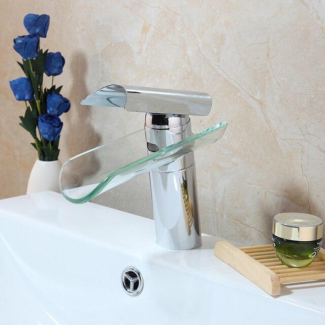 US $37.39 25% OFF|Bad Becken Wasserhahn Einzigen Griff Fliesen Design Glas  Wasserfall Auslauf Armaturen Mixer & Taps Badezimmer Chrom Waschbecken ...