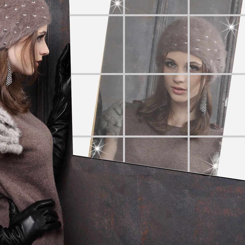 1set = 9 pièces! 15cm x 15cm auto-adhésif miroir film salle de bain vitrine fenêtre autocollants en verre autocollants pour la décoration de la maison