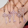 Lady's Rose Pink Gold Plated CZ Pave Set Flower Key Pendant Linking Chain Choker Necklace for Women
