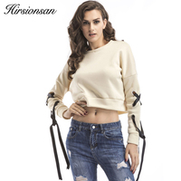 Hirsionsan Autumn Hoodies Sweatshirt Women Long Sleeve Bandage Tops Casual 2017 New Casual Solid Short Hoodies