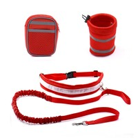 Elastic Belt Strap Waist Traction Rope Pets Leash Running Leash With Reflective Strip Elastic Leash Drinking