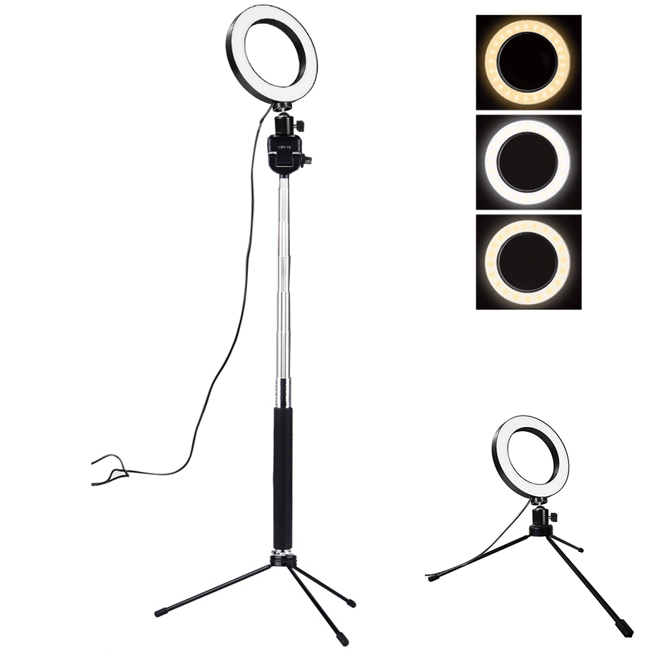 Studio Camera Ring Light Dimmable LED Phone Photo Video Light Annular Lamp With Tripods Selfie Stick Ring Fill Light For Camera remax phone flash light led fill light for smartphones black