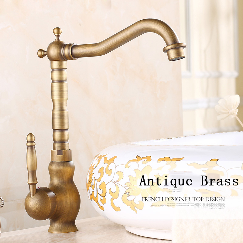 Single Handle Bathroom Basin Sink Mixer Tap Antique Brass Faucet Swivel Spout solid brass single handle waterfall spout bathromm sink faucet countertop basin mixer tap antique brass