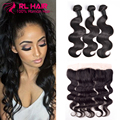 7A Peruvian Virgin Hair Body Wave With Frontal Closure 100% Human Hair With Closure Ear To Ear Lace Frontal Closure With Bundles