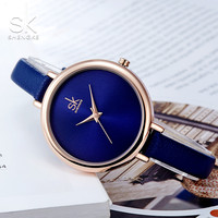 SHENGKE Women Big Round Dial Woven Leather Band Quartz Watch Top Brand Ladies Simple Casual Wrist