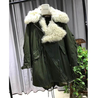 2018 новые женские зимние натуральный мех ягненка куртка пальто толстые теплые роскошные Монголия овечьем меху Верхняя одежда, куртки WT022
