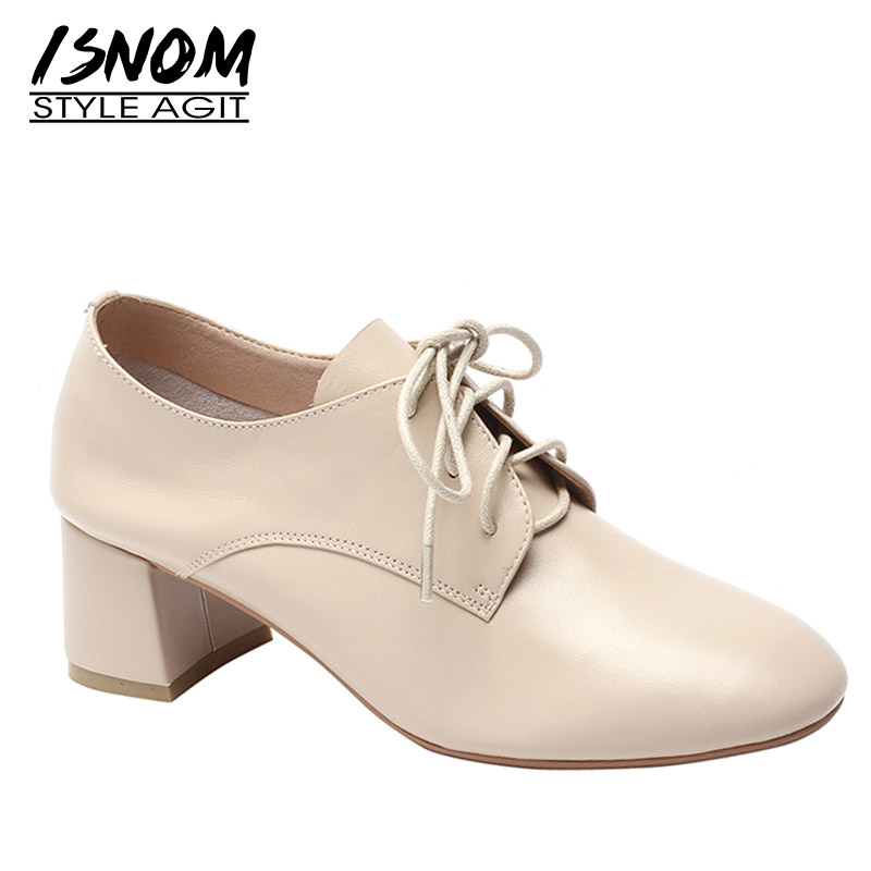 ISNOM Thick High Heels Pumps Women Round Toe Footwear Lace Up Shoes Female Fashion Cow Leather