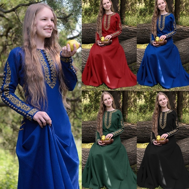 Plus Size Medieval Vintage Long Sleeve Dress Spring Summer Tunic